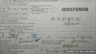 Einstein's landing card