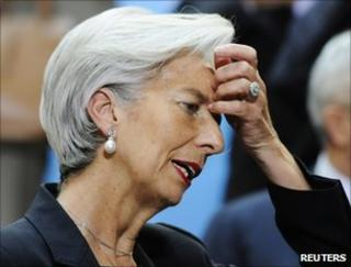 French Finance Minister Christine Lagarde at a meeting at IMF headquarters in Washington, 15 April 2011