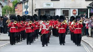 Soldiers marching through Presteigne (picture: Alex Ramsay)