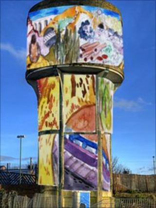 The proposed mural for the water tower