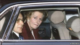 Mrs Thatcher crying as she leaves Downing St