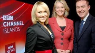 BBC Channel Island news presenters Clare Burton, Gwyn Garfield-Bennett and Edward Sault