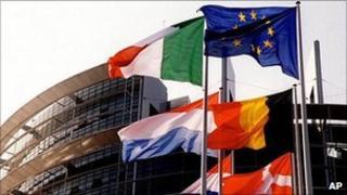Flags outside European Parliament, Strasbourg