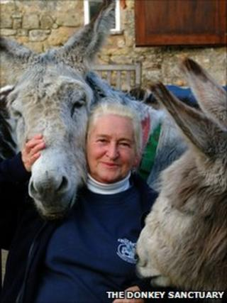 Dr Elisabeth Svendsen with rescued donkeys