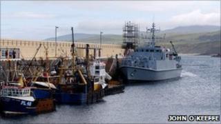 HMS Ramsey birthed in Peel Harbour