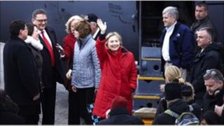 US Secretary of State Hillary Clinton waves on arrival in Nuuk, Greenland, 11 May