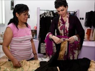 Eman Al Mandeel and one of her dressmakers