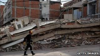 Collapsed building in Lorca