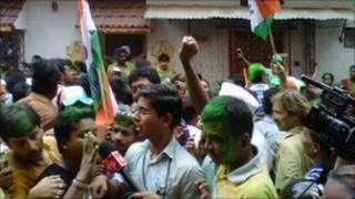 Celebrations outside Mamata Banerjee's house in Calcutta on 13 May 2011