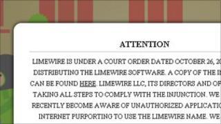Limewire homepage, Limewire