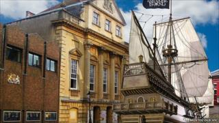 Computer image of galleon outside Bristol Old Vic