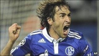 Schalke player Raul celebrates scoring against Inter Milan in the Champions League