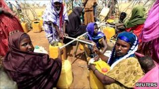 Refugees getting tap water in Dadaab, near the Somali-Kenyan border