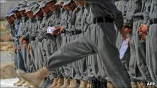 Afghan police at a graduation ceremony at the Qalat Police Training Centre, file pic from April 2011