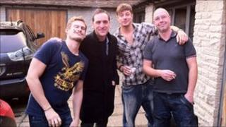Lee Ryan, Liam Keenan, Duncan James and Ciaron Bell take a break while writing I Can