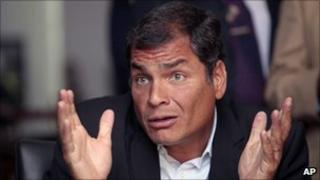 Rafael Correa during a news conference on 12 May 2011