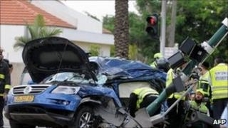 Car damaged by lorry in Tel Aviv, Israel - 15 May 2011