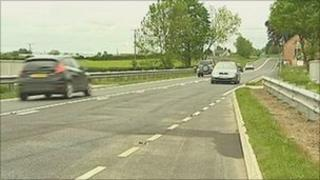 Scene of crash near Welshpool