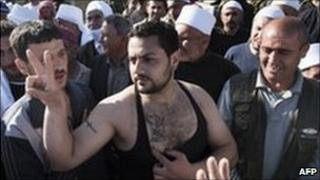 Palestinian after taking part in Golan Heights protest