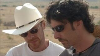 Ethan Coen, left, and Joel Coen, right, on the set of No Country for Old Men