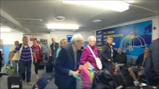Some passengers returning into Bournemouth Airport