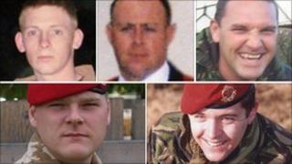 From top left: Guardsman Jimmy Major, Sgt Matthew Telford and Warrant Officer Darren Chant. From bottom left: Cpl Steven Boote and Cpl Nicholas Webster-Smith