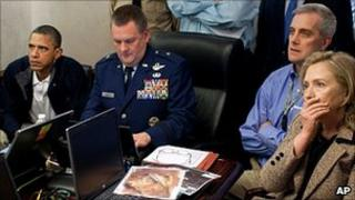 US President Barack Obama (left), Secretary of State Hilary Clinton and administration officials watching the operation that led to bin Laden's death