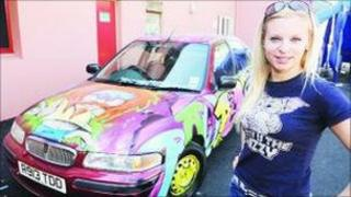 Rosie Wareham and her second hand rally car