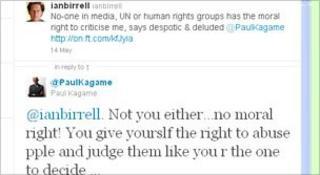 Twitter debate between Paul Kagame and Ian Birrell
