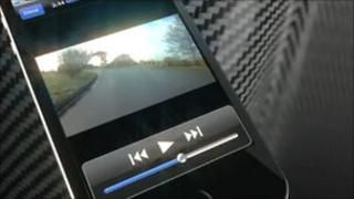 Smartphone displaying iBiker app