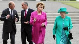 The Queen and President Mary McAleese with their husbands Martin McAleese and Prince Phillip
