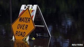 Flooded road sign in Mississippi