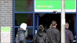 Young people entering a Job Centre