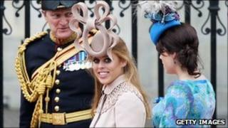 Princess Beatrice wearing the hat at the royal wedding