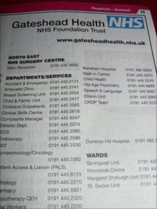 Gateshead Health NHS Foundation Trust advert in BT phone book