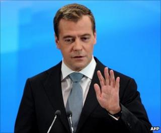 Russian President Dmitry Medvedev addresses the media in Skolkovo, outside Moscow, 18 May