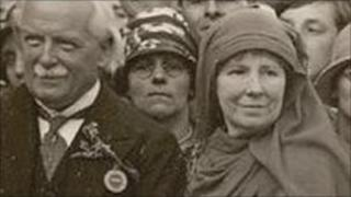 Winifred Coombe Tennant with David Lloyd George at the National Eisteddfod at Treorchy, 1928 (Picture:The National Library of Wales)