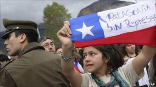 Demonstrators protest during the meeting of the Regional Commission of Chile's Environmental Evaluation Service, SEA in Spanish, in Coyhaique, Aysen region, 9 May 2011