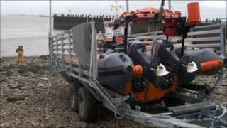 RNLI lifeboat on a trailer