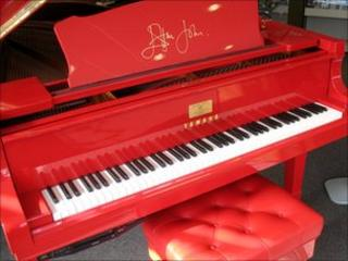 Elton John replica red piano on display in Leicester