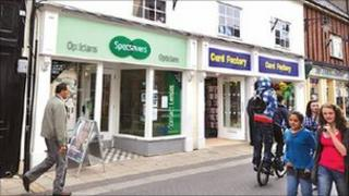 The shops in Diss bought by South Norfolk Council