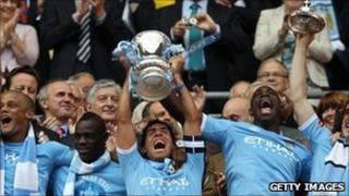 Manchester City city after their FA Cup final win on 14 May