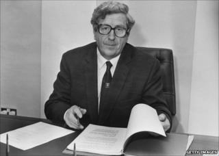 Irish Taoiseach (prime minister) Garret FitzGerald, circa 1984