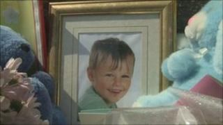 Photograph of Alfie left at the scene with tributes