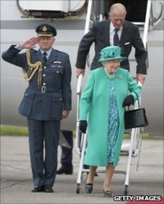 Queen Elizabeth II and Prince Philip arrive at Baldonnel Airport, Dublin, on 17 May 2011