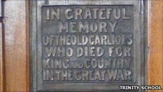 The World War I memorial at Trinity School in Carlisle