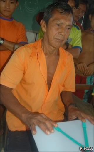 Mundurucu man with geometry tool (P Pica)
