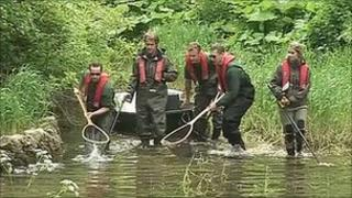 Teams clearing the River Lathkill