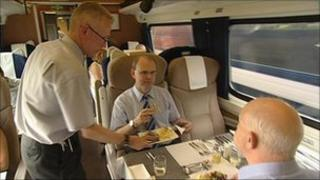 Passengers in a dining car