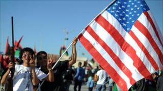 Libyans with US flag